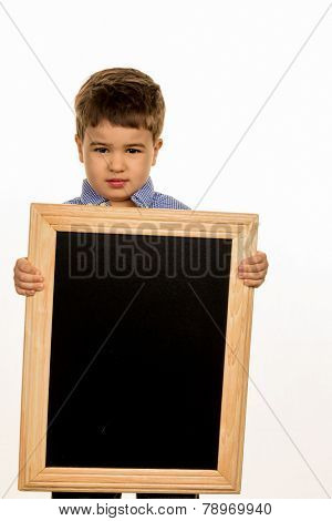little boy with chalkboard icon for advertising, marketing