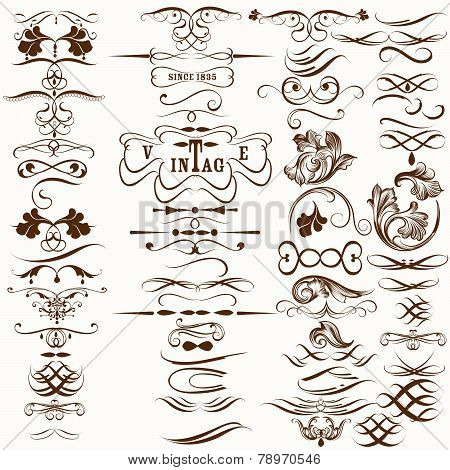 Collection Of Vintage Decorative Calligraphic Flourishes