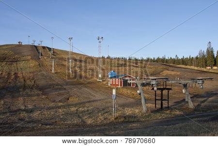 Ski slope in late autumn.