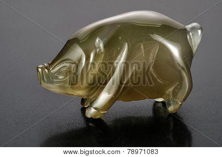 Carved Smoky Quartz Pig