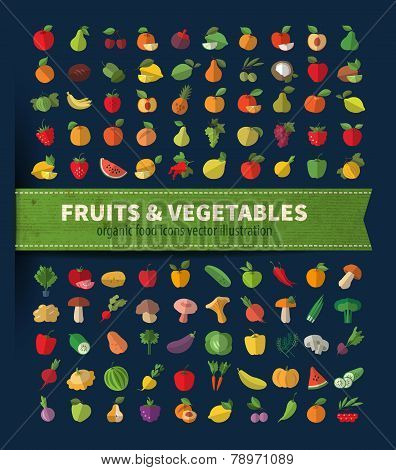Fruit and vegetables. Set of icons. Fresh food
