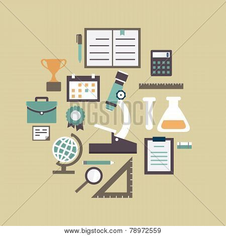 Flat Concept Of Education And Knowledge. Symbols Of Education In Circle Shape Composition Background