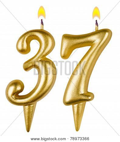 Birthday Candles Number Thirty Seven Isolated