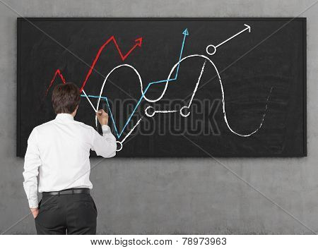 Businessman Drawing Chart And Arrows