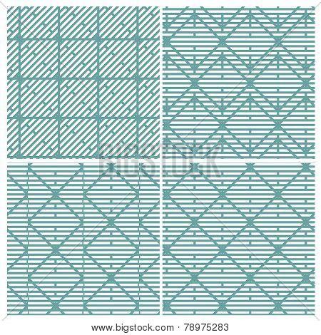 Set of four strange line patterns