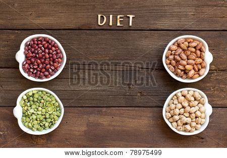 Legumes In Bowls And The Word Diet