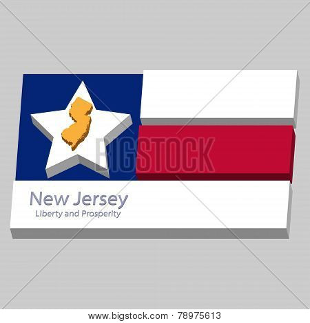 The Outline Of The State Of New Jersey Is Depicted On The Background Of The Stars Of The Flag Of The