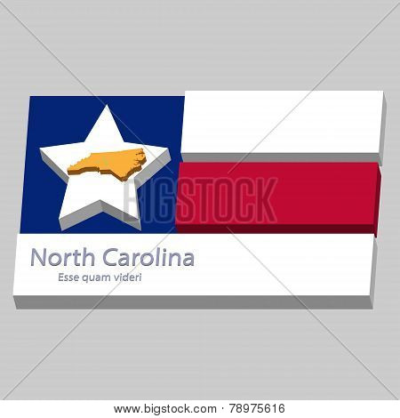 The Outline Of The State Of North Carolina Is Depicted On The Background Of The Stars Of The Flag Of