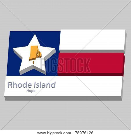 The Outline Of The State Of Rhode Island Is Depicted On The Background Of The Stars Of The Flag Of T