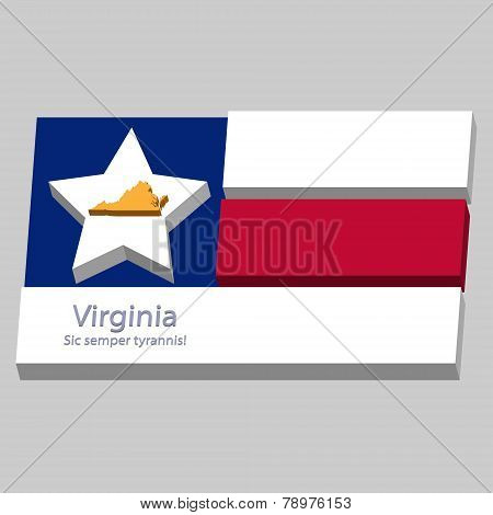 The Outline Of The State Of Virginia Is Depicted On The Background Of The Stars Of The Flag Of The U