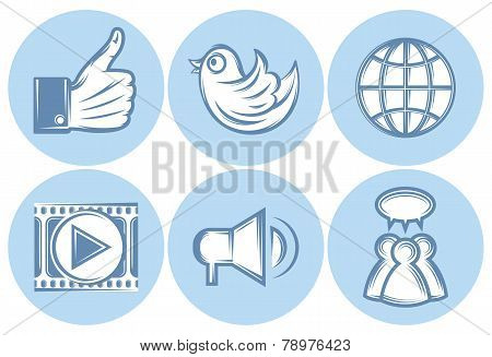 Icons For Social Networking, Internet, Twitter, Like, File Sharing