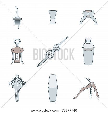 color outline icons barman instruments set