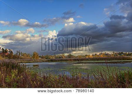 Mellow autumn on river bank
