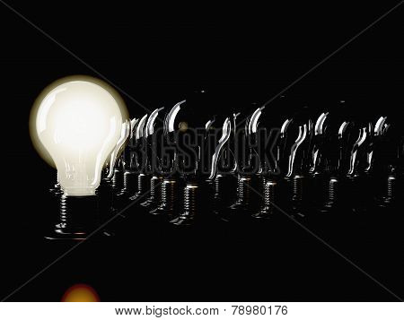 illuminated fluorescent light bulb