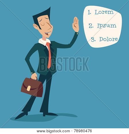 Businessman Character with Briefcase Icon on Stylish Background Retro Cartoon Design Vector Illustra