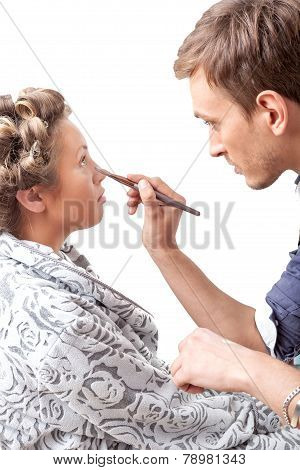 Makeup Applying. Make-up artist applying