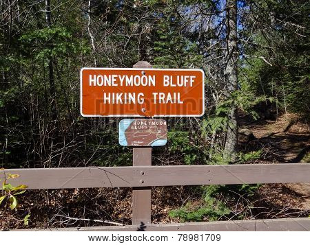 Sign For Honeymoon Bluff Hiking Trail