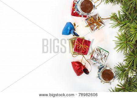 Christmas Decoration With Green Pine Or Fir And Many Gifts