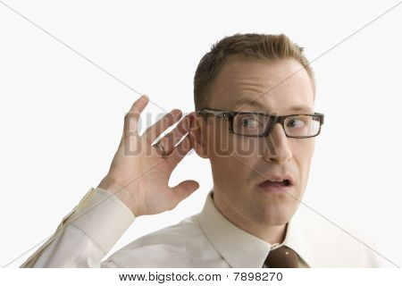 Businessman Trying to Hear - Isolated