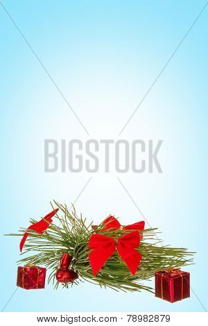 Decoration With Green Pine Or Fir And Many Gifts For Christmas Tree