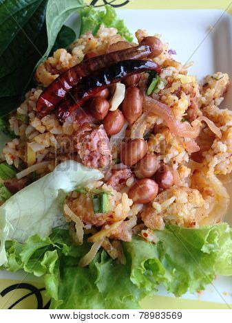 Closed Up Thai Salad Of Curried Rice Croquettes