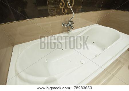 Luxury Bath Tub In Apartment Bathroom