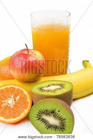 Fruit juice on a white background