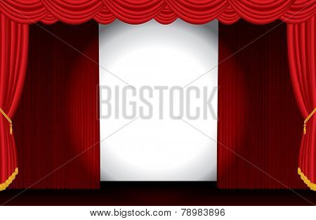 vector spotlight on opened wide red stage
