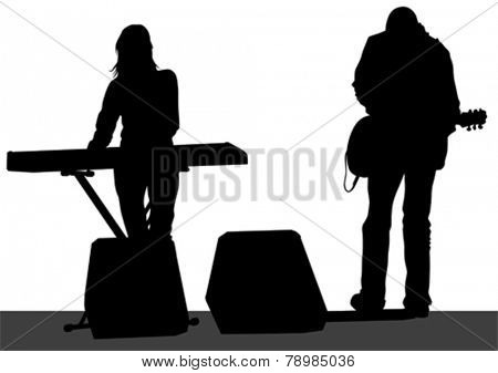 Pianist and singer of rock band on white background