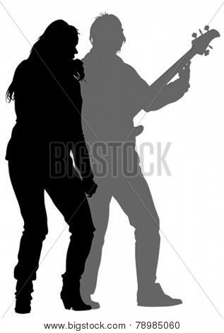 Beautiful women and man whit microphon on white background