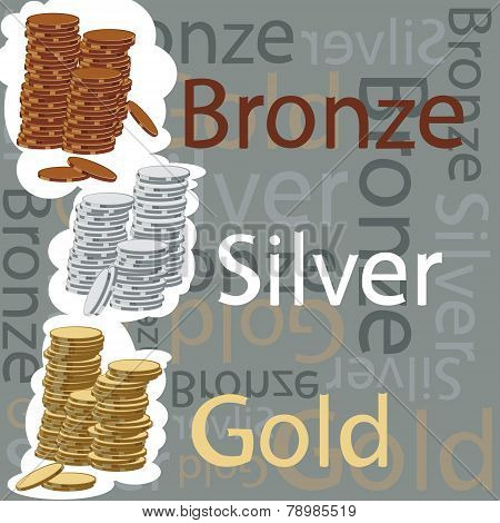 Gold, Silver And Bronze Coins
