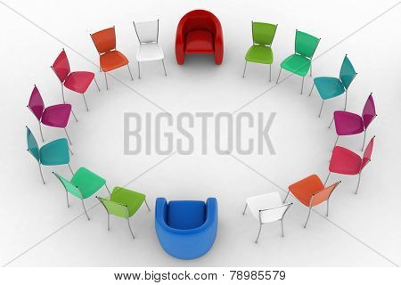 Two arm-chairs of chief and group of multicolored office chairs. 3d render illustration on white background.