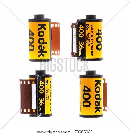 Roll Of  Kodak 400 Colour Print Film On White Background