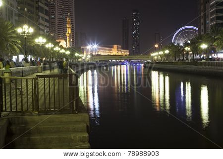 SHARJAH, UNITED ARAB EMIRATES - DECEMBER 19, 2014: Photo of Channel Al Qasba.