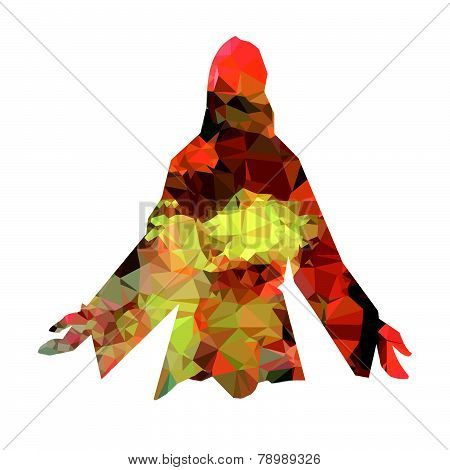 Jesus silhouette triangles vector