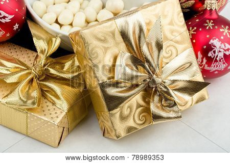 Christmas Decoration And Golden Box With Ribbon