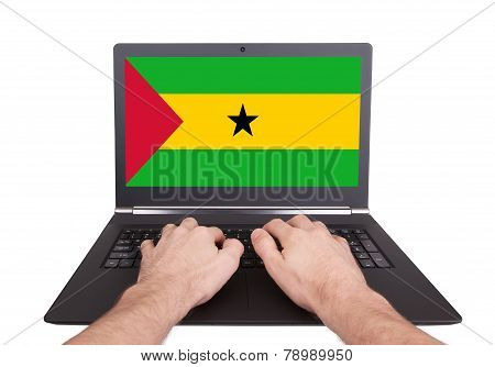 Hands Working On Laptop, Sao Tome And Principe