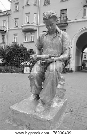 Sculpture - A Young Man Reading A Book.