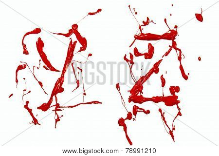 Y And Z Painted Red