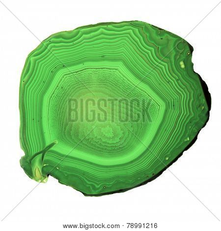 green agate isolated on white background