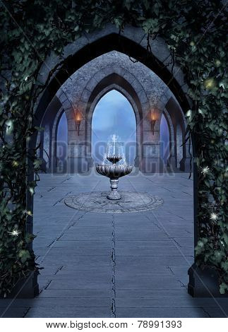 Fantasy Font In A Castle At Night