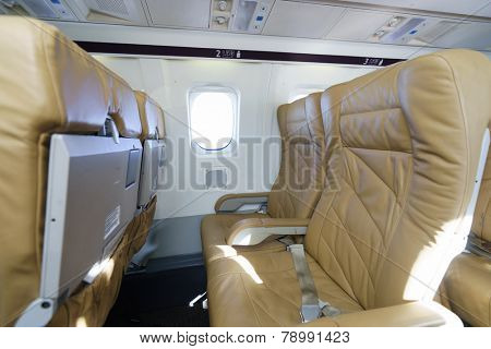 LEIPZIG, GERMANY - SEP 11: Darwin Airline Saab 2000 interior on September 11, 2014. Darwin Airline, operating under the brand name Etihad Regional since January 2014