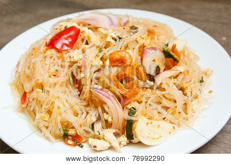 Spicy Noodle Salad Or Spicy Vermicelli Salad.
