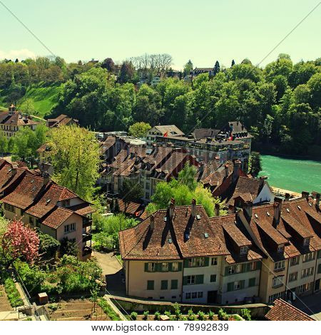 Tile Roof Of Bern And Aare River(Switzerland)