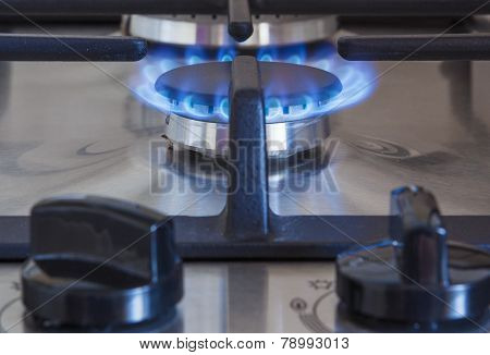 Close Up Of Gas Burner With Two Regulator Knobs