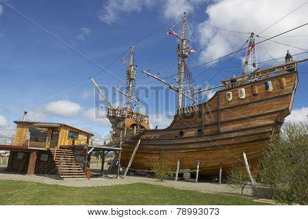 Nao Victoria, Ferdinand  Magellan's ship replica, Punta Arenas, Chile.