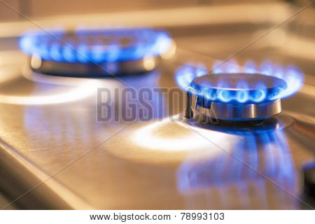 Two Gas Burners On Stove Surface