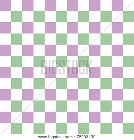 Seamless checkered pattern with complementary colors lilac, light green and white
