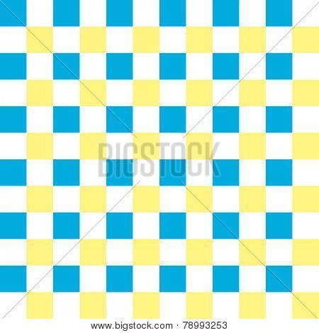 Vivid cyan, yellow and white checkered seamless background pattern