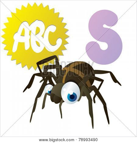 S is for vector cute cartoon isolated Spider